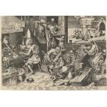 Puzzle  Grafika-00710 Brueghel Pieter: Der Alchemist, 1558, als Kupferstich von Philipp Galle