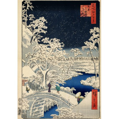 Puzzle Grafika-00770 Utagawa Hiroshige: Drum bridge at Meguro and Sunset Hill, 1857
