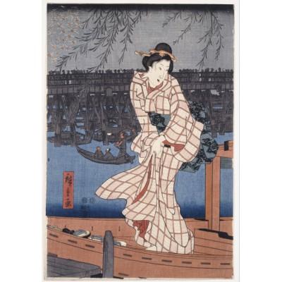 Puzzle Grafika-00771 Hiroshige Utagawa: Abend auf dem Sumida-Fluss, 1847-1848