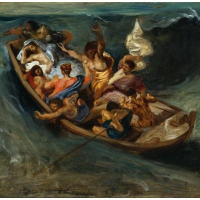 Puzzle Grafika-00777 Eugène Delacroix: Christus im Sturm auf dem Meer, 1841