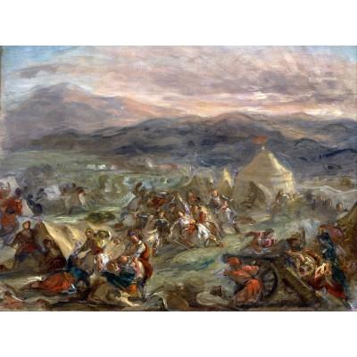 Puzzle Grafika-00780 Eugène Delacroix: Botzaris überrascht das türkische Lager im Sonnenaufgang, 1860-62