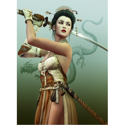 Puzzle Grafika-00983 Weibliche Samurai