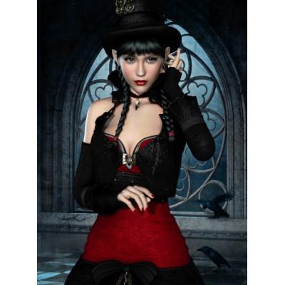Puzzle Grafika-01151 Gothic: Frau mit Rabe