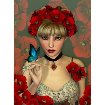 Puzzle Grafika-01153 Frau und Schmetterling