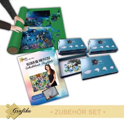 Grafika-01228 Zubehör-Set - Groß - Puzzlematte für 6000 Teile, Kleber für 3000 Teile und 10 Sortierkästen