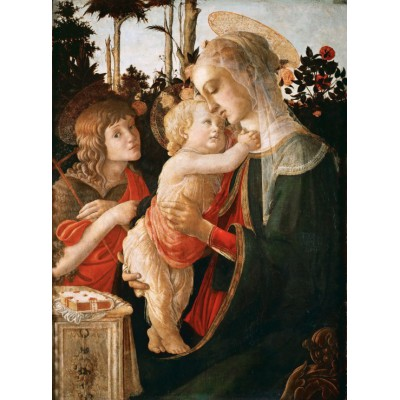 Puzzle Grafika-01287 Sandro Botticelli: Jungfrau und das Kind mit Johannes, 1470-1475