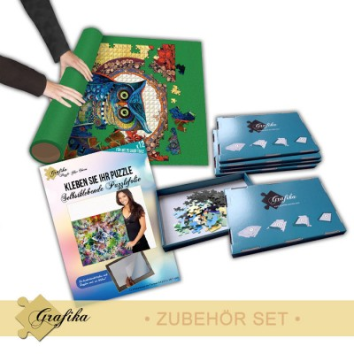 Grafika-01320 Zubehör-Set - Mittel - Puzzlematte für 2000 Teile, Kleber für 2000 Teile und 6 Sortierkästen