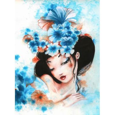 Puzzle Grafika-01323 Misstigri: Blue Flowers