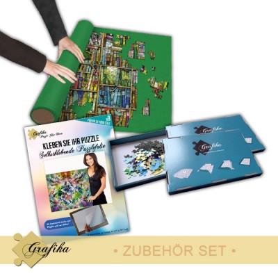 Grafika-01342 Zubehör-Set - Klein - Puzzlematte für 1000 Teile, Kleber für 1000 Teile und 3 Sortierkästen