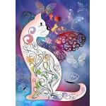 Puzzle  Grafika-01507 Katze und Schmetterlinge
