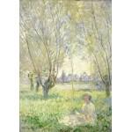 Puzzle  Grafika-01538 Claude Monet - Frau unter Weiden sitzend, 1880