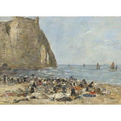 Puzzle Grafika-01601 Eugène Boudin: Washerwomen on the Beach of Etretat, 1894