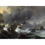 Puzzle  Grafika-01777 Ludolf Backhuysen: Ships in Distress off a Rocky Coast, 1667