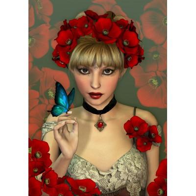 Puzzle Grafika-T-00092 Frau und Schmetterling