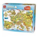 Puzzle  King-Puzzle-05077 Comic Collection - Verrücktes Europa