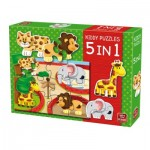 King-Puzzle-05079 Kiddy Puzzles - 5 in 1 - Zoo