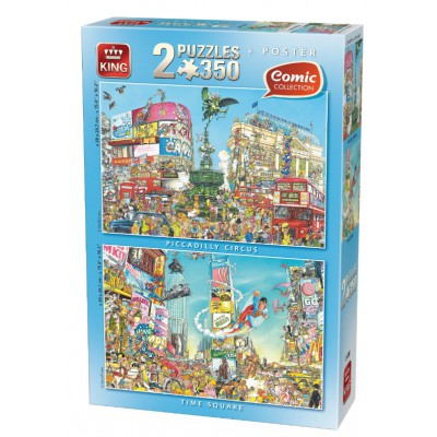 King-Puzzle-05490 2 Puzzles - Comic: Piccadilly + Times Square