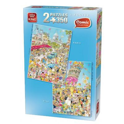 King-Puzzle-05491 2 Puzzles - Comic: Paris + Pisa