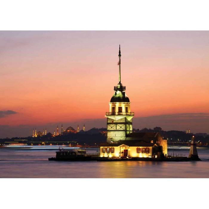 Türkei, Istanbul: Leanderturm im Abendrot