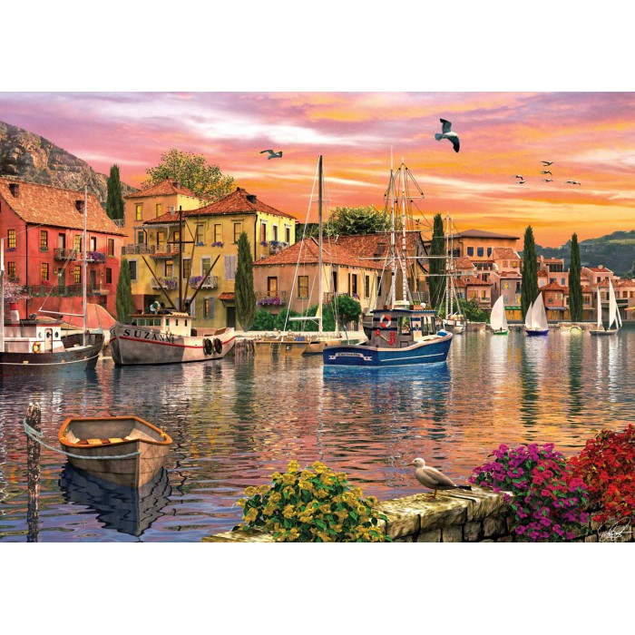 Dominic Davison: Sonnenuntergang am Hafen