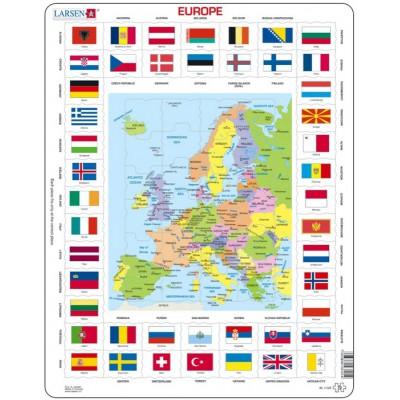 Europakarte Und Flaggen Auf Franzosisch 70 Teile Larsen