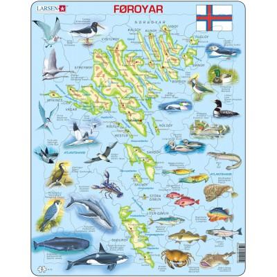 /physische Karte mit Tiere Puzzle Larsen A4/Neuseeland/
