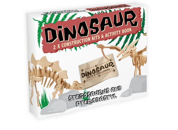 3D Puzzle aus Holz - Stegosaurus Pterodactyl