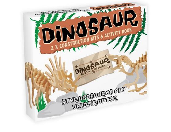 3D Puzzle aus Holz - Styracosaurus Velociraptor