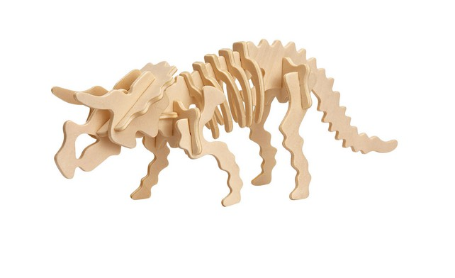 3D Puzzle aus Holz - Triceratops Tyrannosaurus Rex