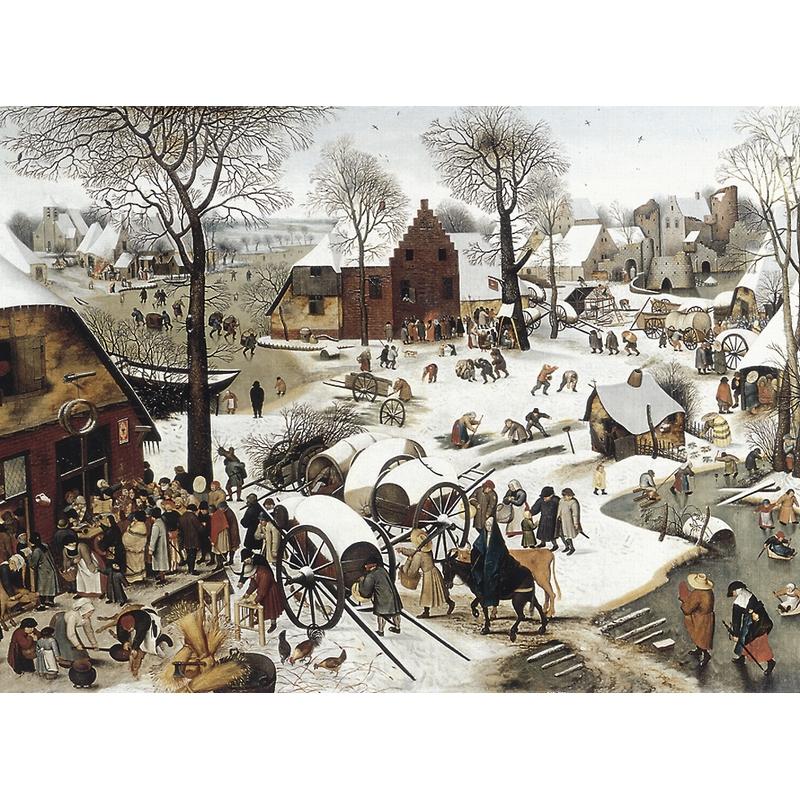 Puzzle aus handgefertigten Holzteilen - Brueghel: Volkszählung zu Bethlehem