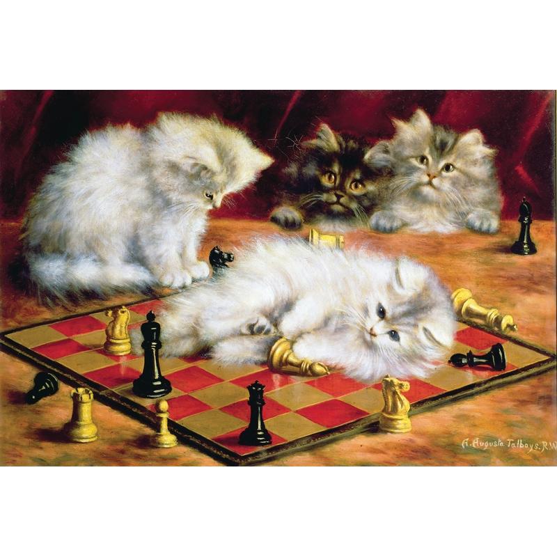 Puzzle aus handgefertigten Holzteilen - Agnes Augusta Talboys Katzen auf dem Schachbrett