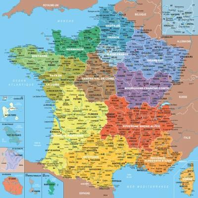 Frankreich Departements Karte.Puzzle Puzzle Aus Handgefertigten Holzteilen Frankreichkarte 1 Departement 1 Teil