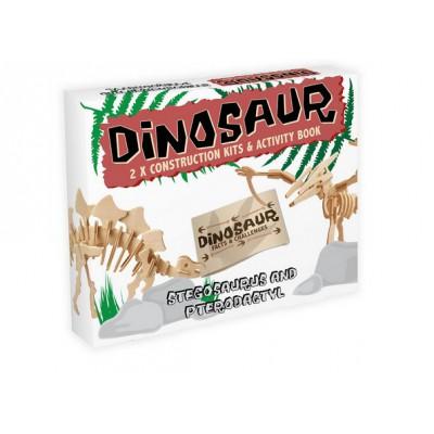 Professor-Puzzle-DC1253 3D Puzzle aus Holz - Stegosaurus & Pterodactyl