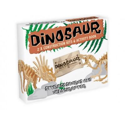 Professor-Puzzle-DC1254 3D Puzzle aus Holz - Styracosaurus & Velociraptor