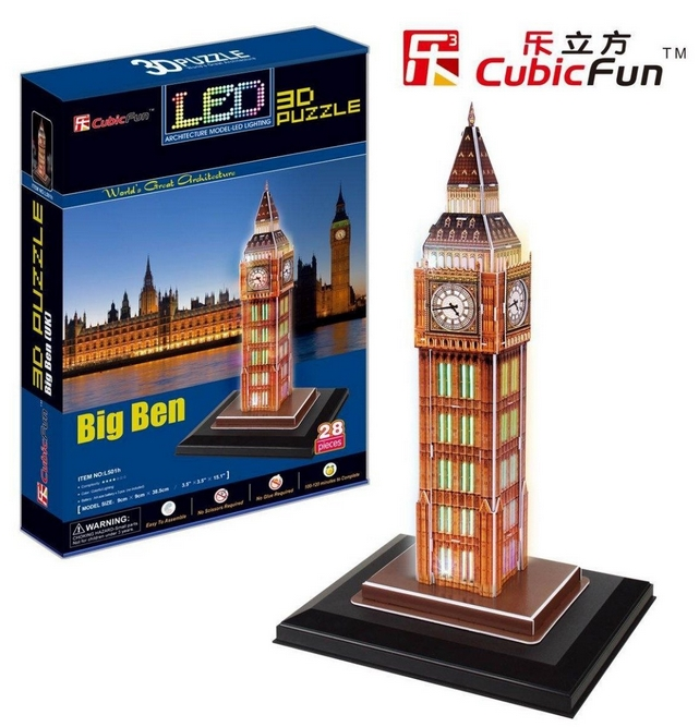 puzzle 3d mit led london big ben 28 teile cubic fun puzzle online kaufen. Black Bedroom Furniture Sets. Home Design Ideas