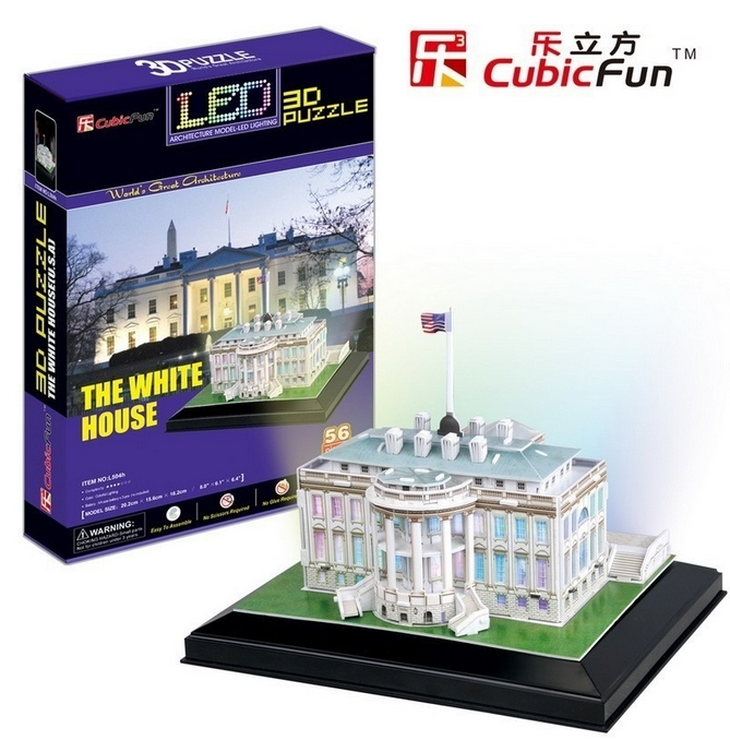 3d puzzle mit led wei es haus washington 56 teile cubic fun puzzle online kaufen. Black Bedroom Furniture Sets. Home Design Ideas