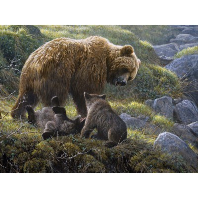 Puzzle Cobble-Hill-54584 Robert Bateman: Familie Grizzly