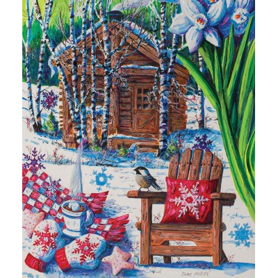 Puzzle Sunsout-14606 Diane Phalen - Mountain Cabin Fever
