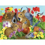 Puzzle  Sunsout-16012 XXL Teile - Bunnies and Birdhouses
