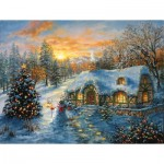 Puzzle  Sunsout-19224 XXL Teile - Christmas Cottage