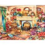 Puzzle  Sunsout-23447 Kim Jacobs - Fireside Embroidery