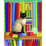Puzzle  Sunsout-31616 Linda Elliott - Quilt Shop Cat