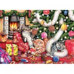 Puzzle  Sunsout-36452 Debbie Cook - Cats and Baubles