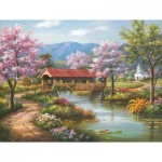 Puzzle  Sunsout-36604 XXL Teile - Covered Bridge in Spring