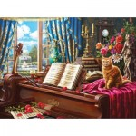 Puzzle  Sunsout-42936 Grand Piano Cat