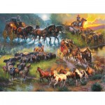 Puzzle  Sunsout-52948 Mark Keathley - Wagon Trails