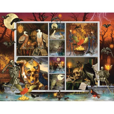 Puzzle Sunsout-55924 Halloween Stamps: Skeleton Dance