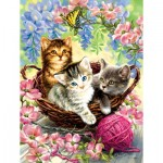 Puzzle  Sunsout-57216 Dona Gelsinger - Kittens and Flowers