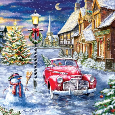 Puzzle Sunsout-60668 XXL Teile - A Red Car for Christmas