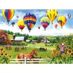 Puzzle   XXL Teile - Balloons over Fields
